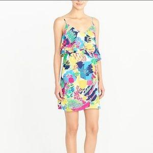 J Crew Factory Ruffle Neon Floral Print Cami Dress